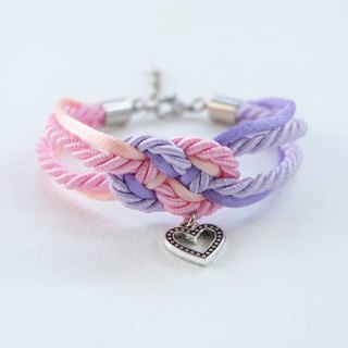 Pink/Peach/Purple infinity knot rope bracelet with heart charm