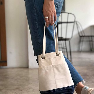 Mini Off-white/navy Canvas Bucket Bag with strap /Leather Handles /Daily use