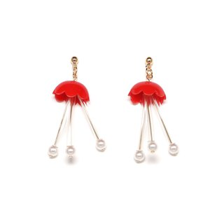 flower fish-red Beads earrings / earrings