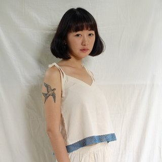 linnil: Indigo crochet top with spaghetti strap