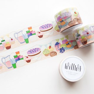 Celebration Washi Tape - Swedish Fika - Party Scene with Cupcakes and Gifts