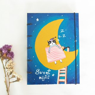 Sweet night., Notebook Painting  Handmadenotebook Diary 筆記本