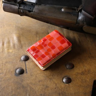 Japan Production Coloring Glass Cowhide Name Single Pouch Name One Pieces Red Color made in JAPAN handmade leather card case