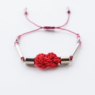 Infinity knot twisted rope in red adjustable bracelet
