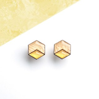 Hex - wooden earrings, maple and gold / Titanium stud earrings or plastic clip earrings