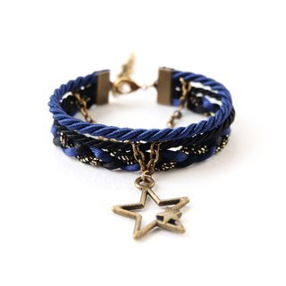 Star layered bracelet in navy blue / black / glittered black