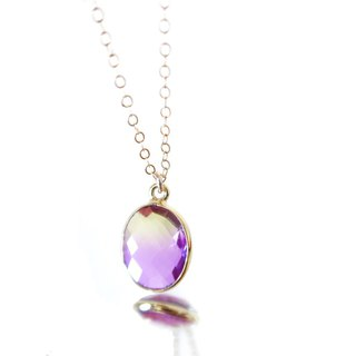 14KGF / YELLOW PURPLE GRADATION CRYSTAL NECKLACE