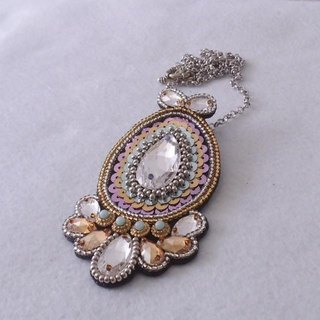 [Beads embroidery] Swarovski * Pendant top no.1