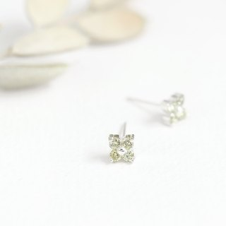 Peridot flower earrings silver 925
