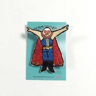 Lucha wrestler embroidery brooch