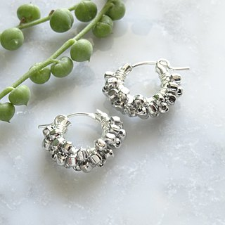 SV925 SF*square metal wrapped hoop pierced earring耳針式