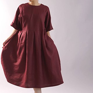 wafu   linen dress / midi length / half sleeve / loose fitting / agat a41-62