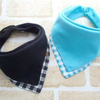 Baby Bib, Set of 2, Reversible Baby Bandana Bib, Japanese Cotton, Gingham Check