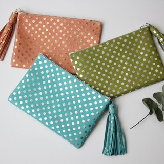 Color pouch polka dot pink spring of pigskin