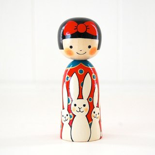 Kokeshi doll/Red ribbon girl and White rabbits