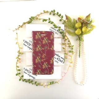 pajour) Bordeaux color Mimosa pattern notebook type smart case [Autumn-Winter] [Flower Pattern] No Bijou