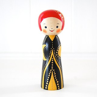 Kokeshi doll / red cheeks girl / design-no.8 /