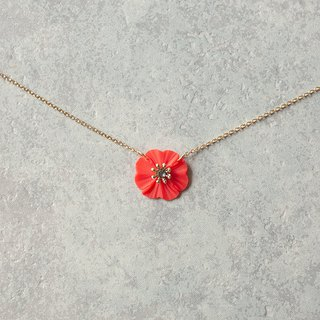 One flower necklace / red