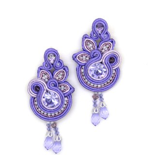 Floral dangle earrings with crystals in purple