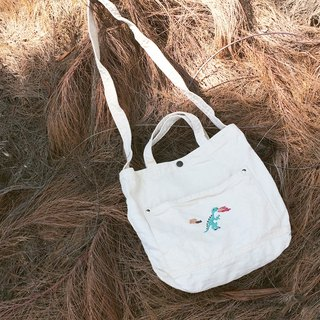 T rex Embroidery - Canvas Crossbody Bag: Off White