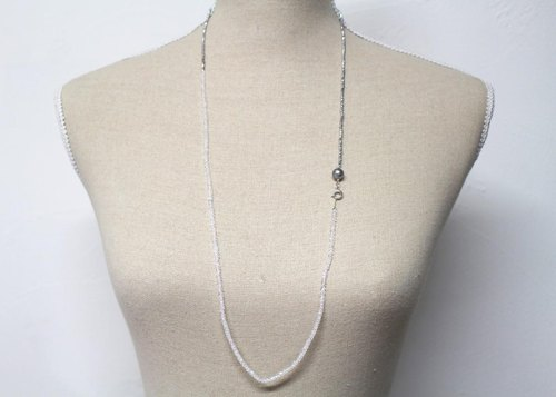 Hematite and Moonstone long necklace