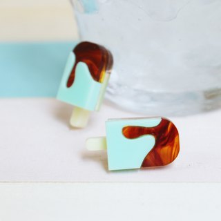 Chocolate mint ice earrings / earrings