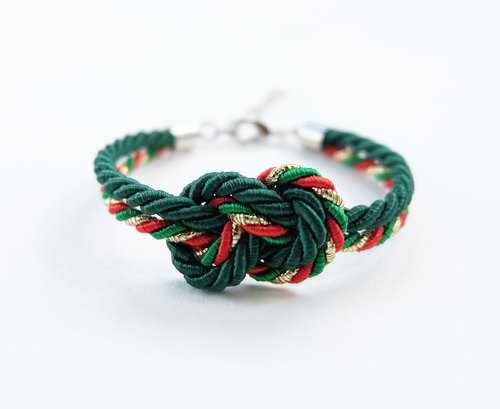Christmas gift collection , Green/Red/Gold Infinity bracelet