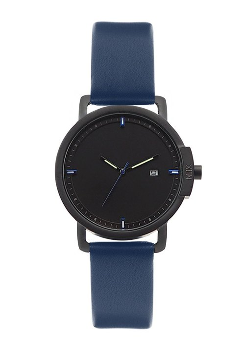 N.IX watch (Valentine gift): Ocean Project / Ocean # 01 with Navy Leather Strap.