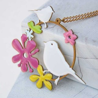 Colored Little bird Necklace / Linen Jewelry / Fashion Necklace / Everyday Jewelry.