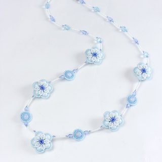 Baby blue necklace, flower jewelry, swarovski pearl, beaded floral jewelry, 384