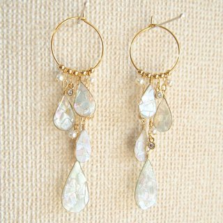 trickle drops and freshwater pearl pierced earrings or clip&screw earrings
