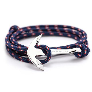 Silver Anchor Navy Rope Bracelet