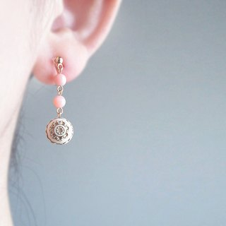 Pink opal, antique style, clip on earrings 夾式