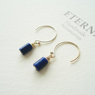 14KGF lapis lazuli hook earrings 穿孔耳環