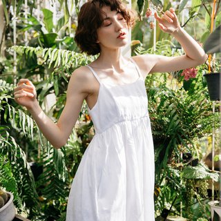Camisole Linen Dress with Back Shell Button in White