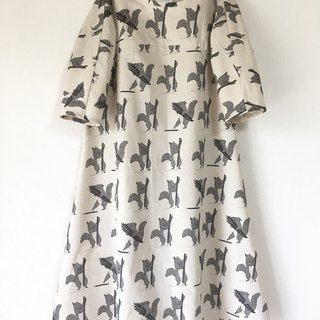 Squirrel pattern flare one piece