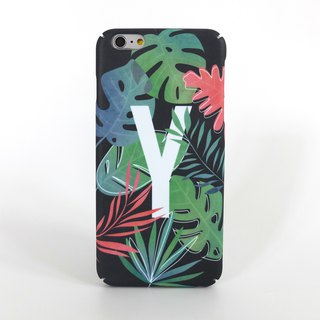 Tropical Leaves alphabet/initial iPhone case (Black)