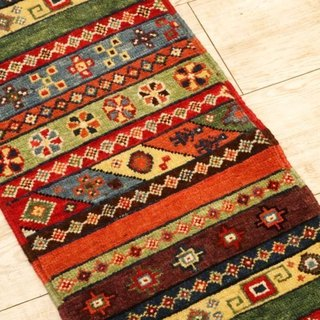 Handmade Rug Elongated Runner Type Hand Woven Carpet Stripe Floral Pattern