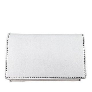 White leather business card case