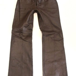 Women's Vintage JEANOLOGY Bootcut Brown Real Leather Jeans Pants W28 L32