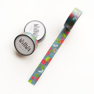 Water Lily Washi Tape - Fish Pond with Koi Fish and Pink Lotus Flowers