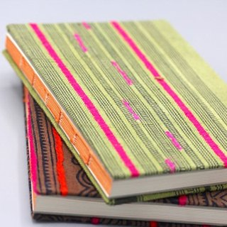 Handmade lined journal-notebook with Hmong hill-tribe fabric cover A6 size in green with neon stripes (NB0006)