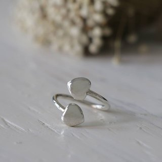 mini heart Minimal ring two double tiny women Girl silver sterling thin modern
