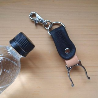 Swine leather * PET bottle holder * Black * Leather