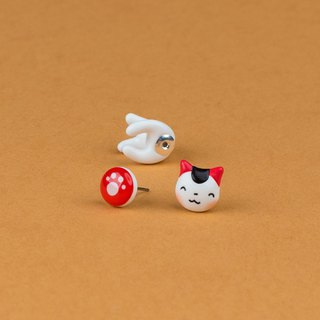 White Maneki Neko Cat Earrings - Lacky Cat Earrings Polymer Clay