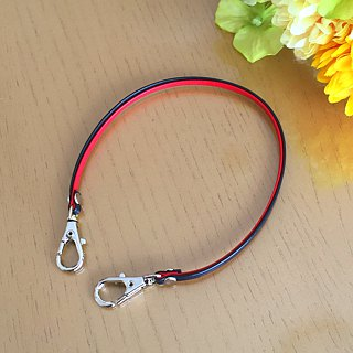 "Two-tone color Leather strap ( Red and Navy ) ""Clasps : Silver"""