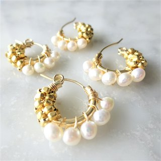 14Kgf Freshwater pearl*gold bi-color wraped earring/pierce