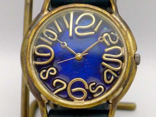 "Hand made watch Hand Craft Watch Coler Dial ""JB 2"" JUMBO Brass color dial BL / NV [JUM 31 BL / NV]"