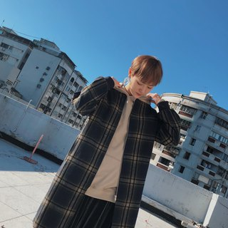 格纹长版毛料外套-大地 LONGLINE WOOLEN COAT IN EARTH CHECK