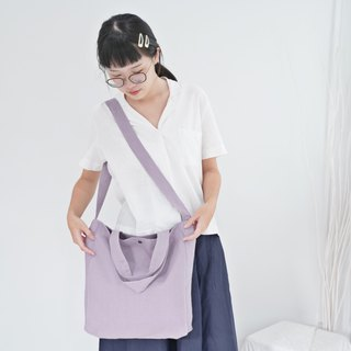 Casual 2 Ways Linen Tote Bag (Violet)